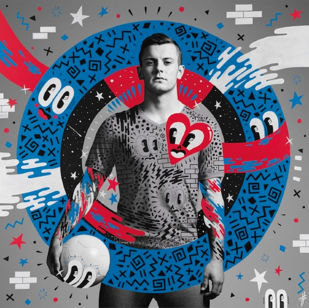 """Artwork of Jack Wilshere created by English artist Hattie Stewart, who was one of the six street artists commissioned by Pepsi as part of the brand's """"The Art of Football"""" collection. #FutbolNow Credit: PepsiCo"""