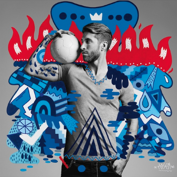 """Artwork of Sergio Ramos created by Spanish artist Zosen, who was one of the six street artists commissioned by Pepsi as part of the brand's """"The Art of Football"""" collection. #FutbolNow Credit: PepsiCo"""