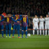 FC Barcelona players line up facing Real Madrid prior to the King's Cup (Copa del Rey) quarter final game between Real Madrid and FC Barcelona in Camp Nou (New Camp) in Barcelona, Spain on January 25, 2012.