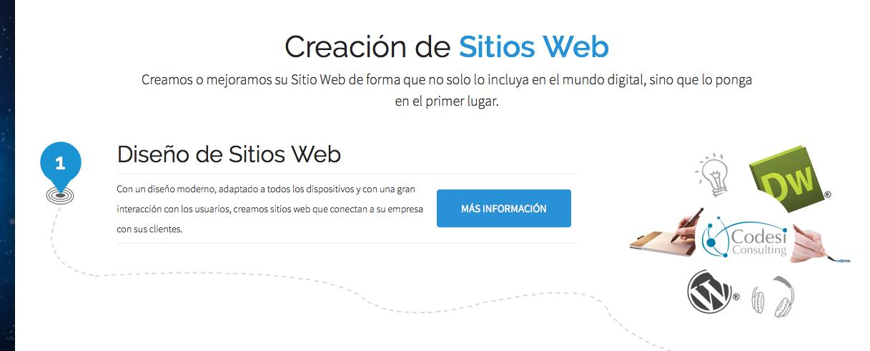 En Codesiconsulting le construimos su sitio web totalmente moderno.